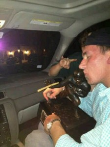 Just Manziel getting blunted with Heisman Trophy.
